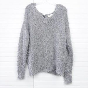 Knox Rose Fuzzy Eyelash Cutout Lace Back Sweater